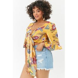 Plus Size Peacock Feather Print Top