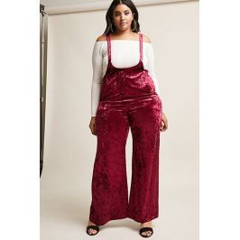 Plus Size Crushed Velvet Overall Jumpsuit