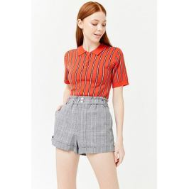 Cuffed Plaid Shorts Women's Trousers