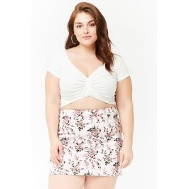 Plus Size Floral Denim Mini Skirt Women's Dresses & Skirts