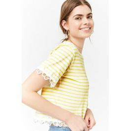 Striped Floral Trim Tee Women's Tops