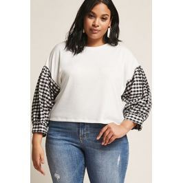 Plus Size Gingham Contrast Top
