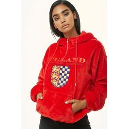England Graphic Faux Fur Hoodie