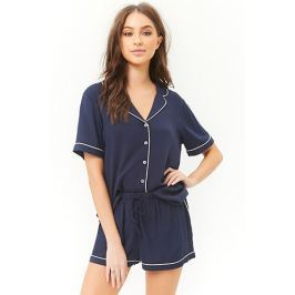 Piped-Trim Shirt & Shorts PJ Set