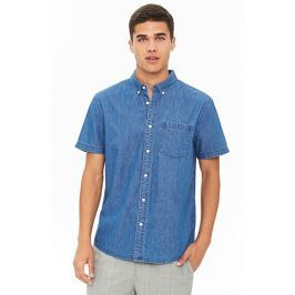 Fitted Chambray Button-Up Shirt